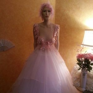 ANITRA Pink White Crystal Sequin Tulle Bridal Gown